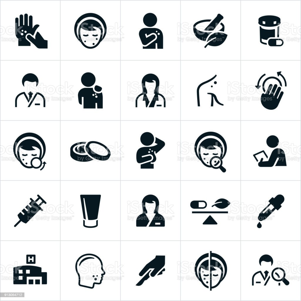 Dermatology Icons vector art illustration