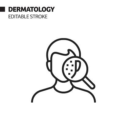 Dermatology Line Icon, Outline Vector Symbol Illustration. Pixel Perfect, Editable Stroke.