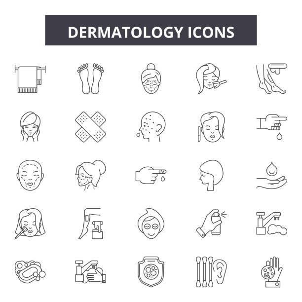 皮膚科ラインアイコン、看板セット、ベクトル。皮膚科概要概念、図: 皮膚科、ケア、皮膚、治療、健康、化粧品、治療、医療 ベクターアートイラスト