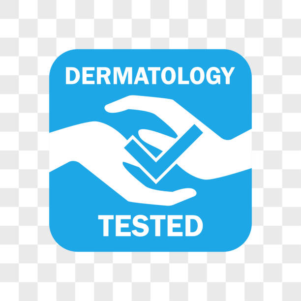 dermatology tested icon for cosmetic product - dermatologist stock illustrations, clip art, cartoons, & icons