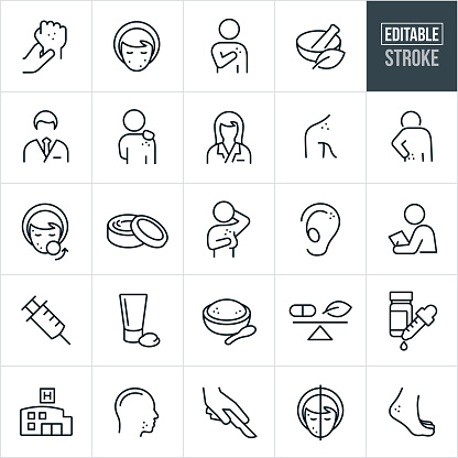 A set of dermatology icons that include editable strokes or outlines using the EPS vector file. The icons include dermatologists, skin irritation, skin cancer, skin blemishes, woman's face with acne, person with spots on their body, natural remedies, doctor, female doctor, rash on persons back, acne treatment, body creams, skin cancer on ear, medical exam, syringe, lotions, bath salts, essential oils, medication, hospital, sun spots, surgery and other related icons.