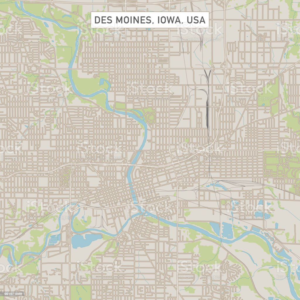 Des Moines Iowa Us City Street Map Stock Vector Art & More Images of ...