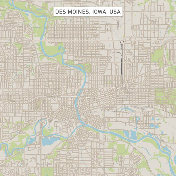 Des Moines Iowa US City Street Map Vector Illustration of a City Street Map of Des Moines, Iowa, USA. Scale 1:60,000. All source data is in the public domain. U.S. Geological Survey, US Topo Used Layers: USGS The National Map: National Hydrography Dataset (NHD) USGS The National Map: National Transportation Dataset (NTD) vector map green stock illustrations