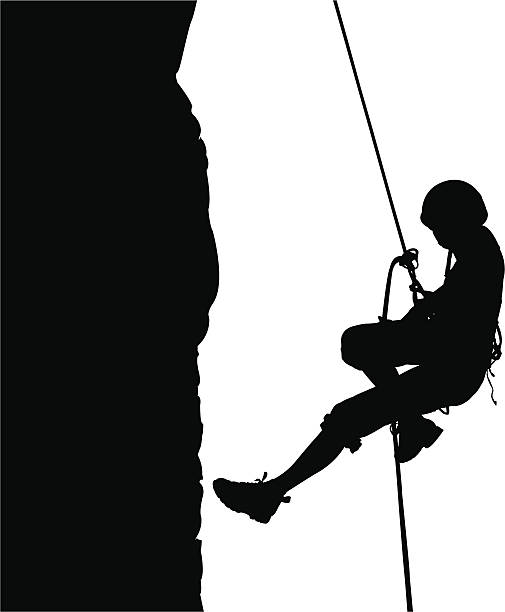 Descending On Rope Vector Art Illustration