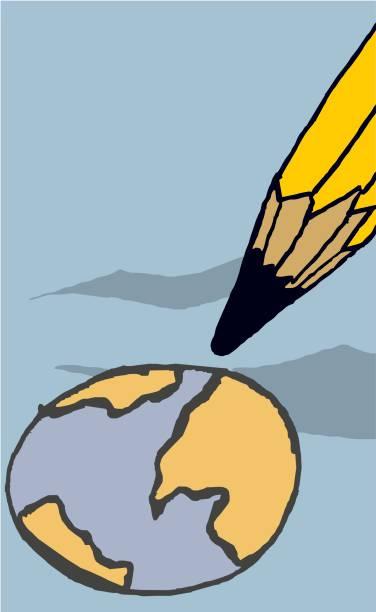 Desenhando ou redesenhando o globo terrestre de uma forma caricata e bem humorada - ilustração de arte em vetor
