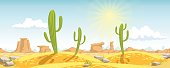 Vector illustration. Desert with cactuses, stones, and mountains on the background.