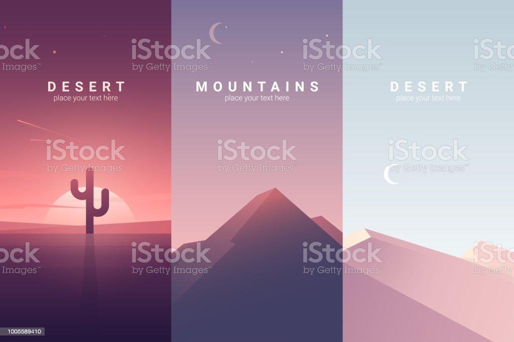 砂漠と山の風景。背景イラスト ベクターアートイラスト