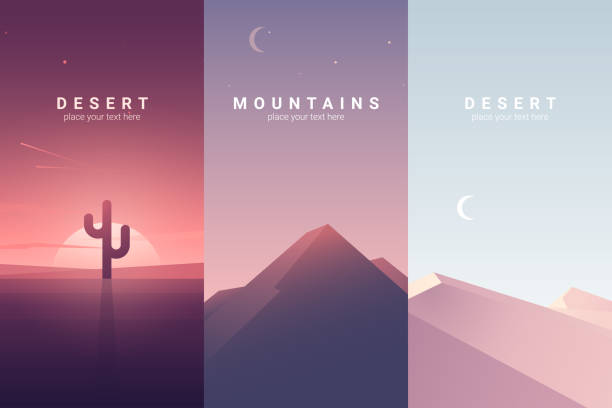 Desert and mountain landscape. Background illustration vector art illustration