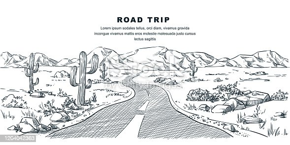 istock Desert and mountains road landscape. Vector sketch illustration. Nature environment and travel hand drawn background 1204042363