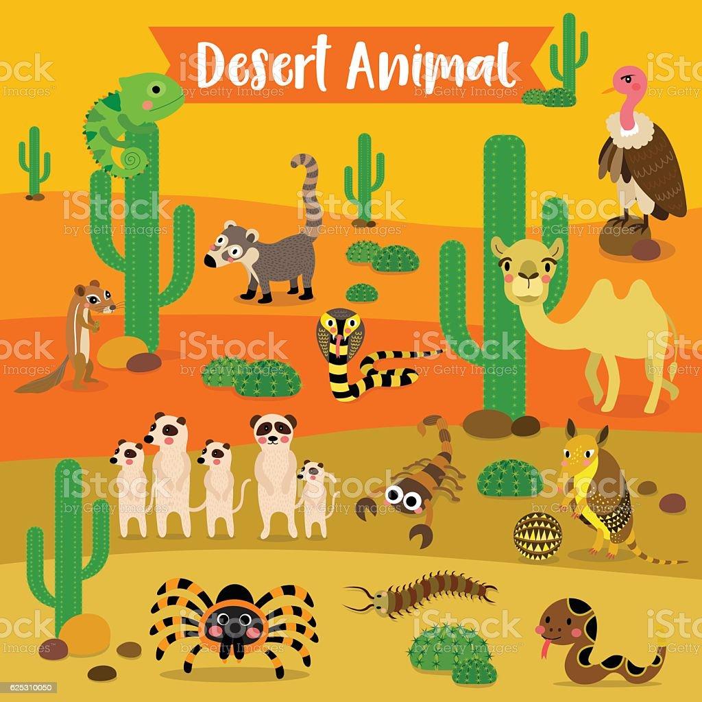 Desert Animal Cartoon On Desert Background Vector Illustration Stock