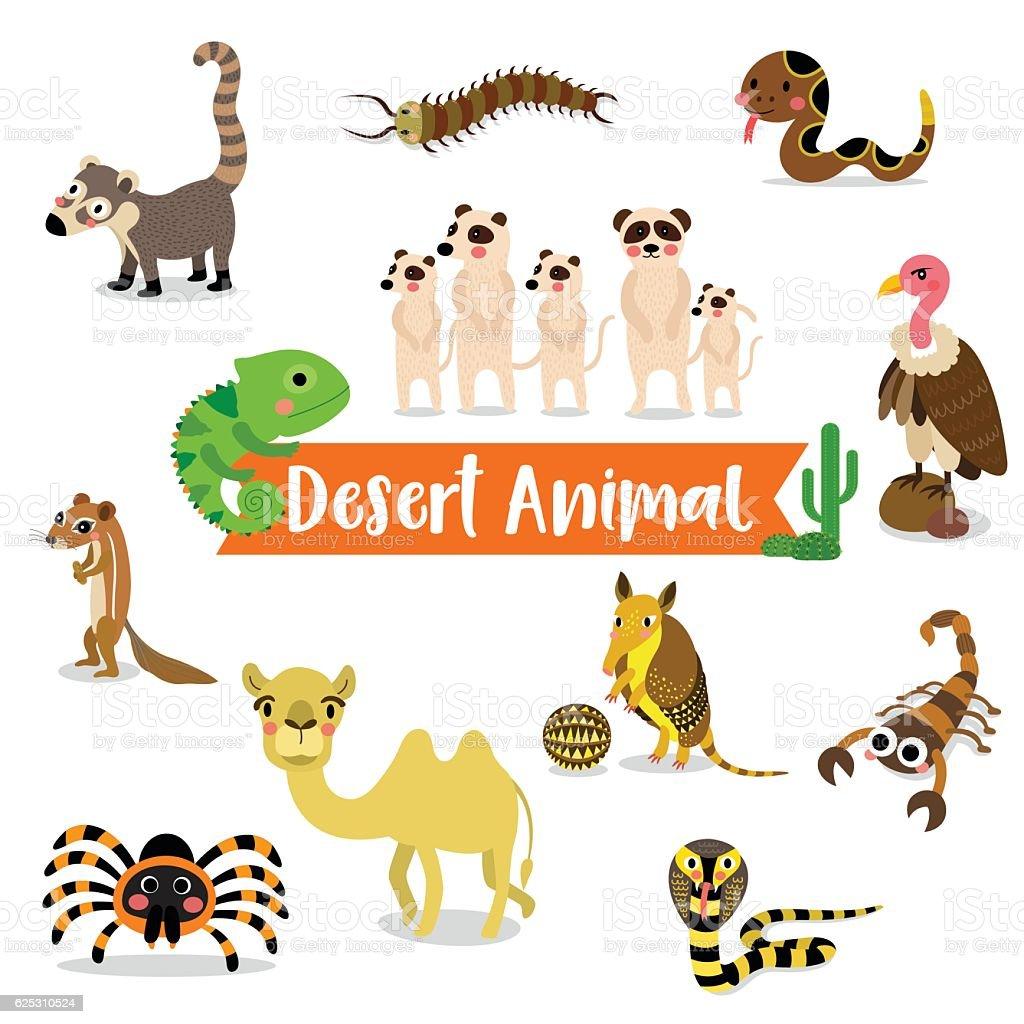 Desert Animal cartoon on white background vector illustration. vector art illustration