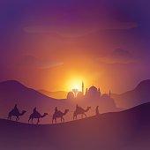 Desert arabic landscape illustration with mosque arabian and camel for islamic banner background design