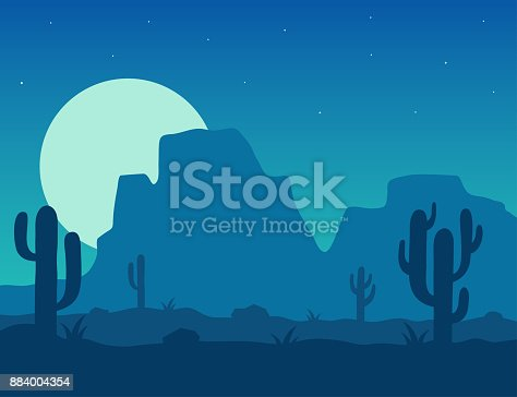 Desert landscape under the night sky vector illustration. Night desert area with silhouettes of stones, cacti, plants and mountains. Background Mexico or Arizona desert under the moon.