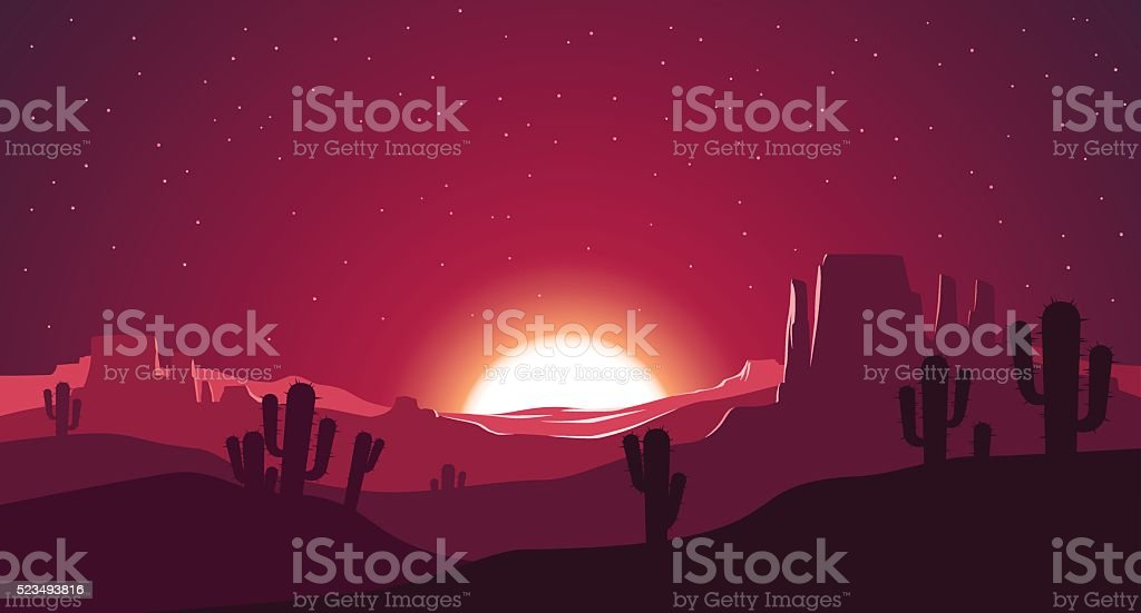 Desert at sunset illustration - Royalty-free Abstract stock vector