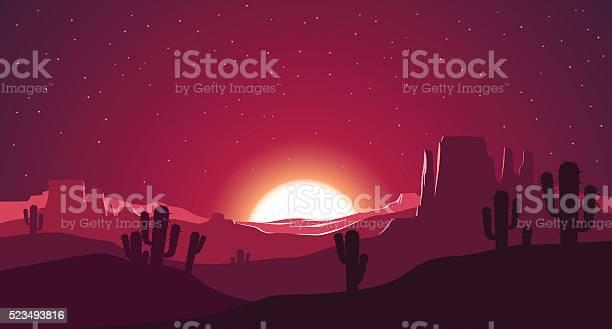 Desert At Sunset Illustration Stock Illustration - Download Image Now