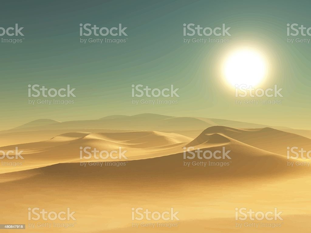 Desert background vector art illustration