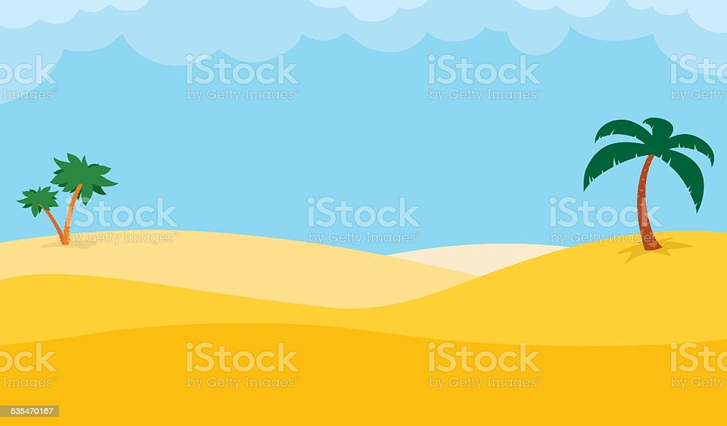 Desert Background With Palm Trees Stock Vector Art More Images Of