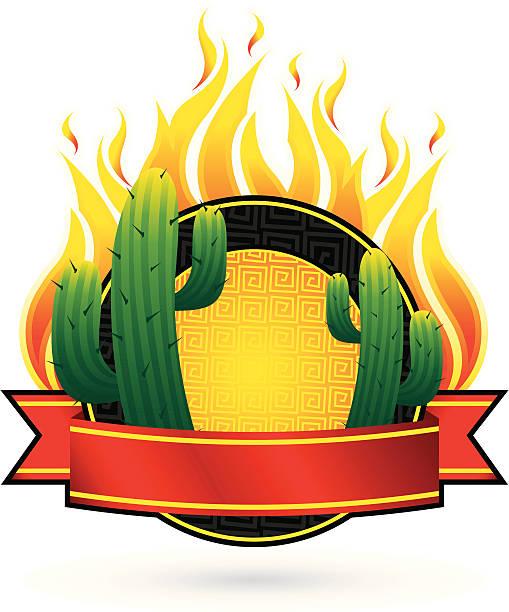 Desert Cactus Banner vector art illustration