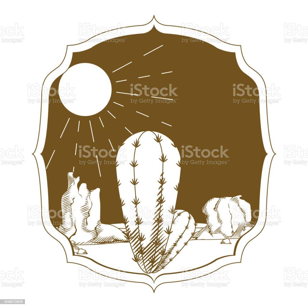 Ilustración de Cactus De Desierto En El Marco De La Vendimia y más ...