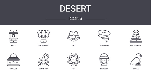 desert concept line icons set. contains icons usable for web, logo, ui/ux such as palm tree, tornado, mosque, hot, bedouin, eagle, oil derrick, hat