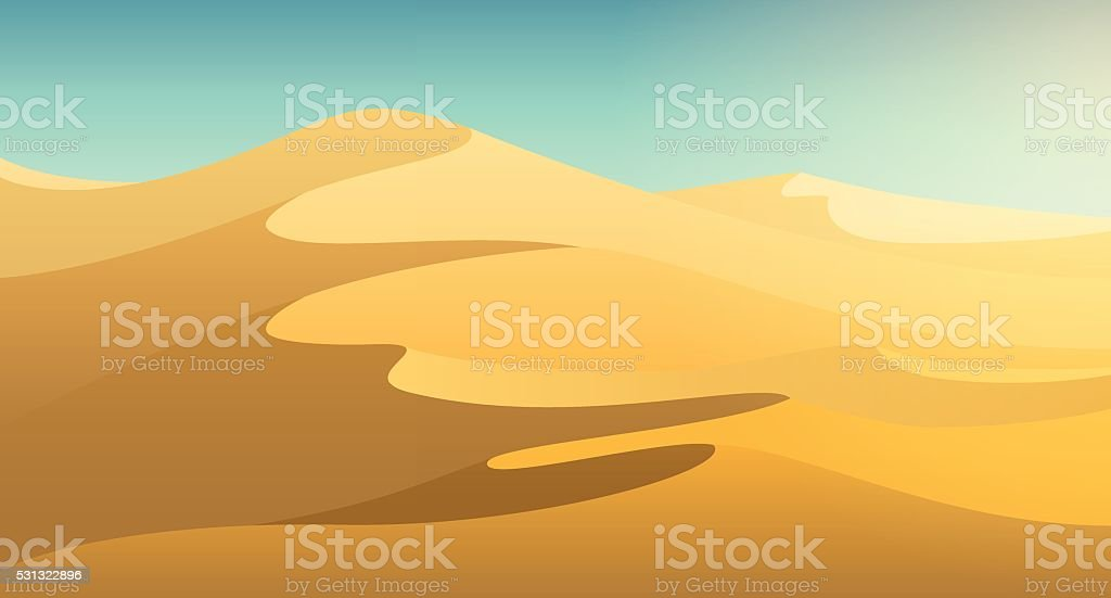 Desert dunes background vector art illustration