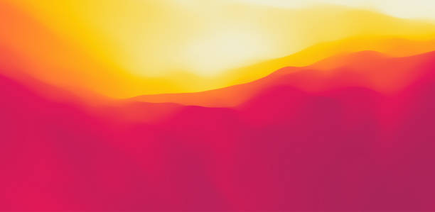 Desert dunes sunset landscape. Mountain landscape with a dawn. Mountainous terrain. Hills silhouette. Abstract background. Vector illustration. vector art illustration