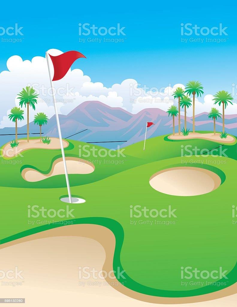 Desert Golf vector art illustration