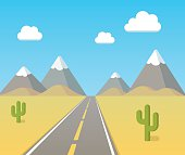 Highway through desert with blue sky, clouds and mountains on horizon. Flat vector cartoon illustration.