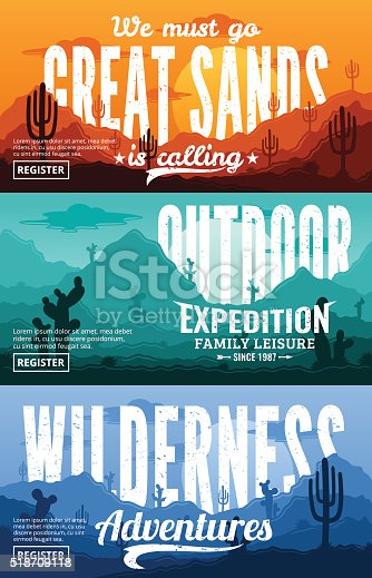 Desert horizontal banner set. Desert wild nature landscapes with cactus, desert herbs, clouds and mountains vector illustration.