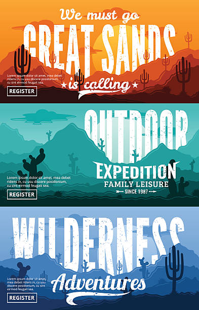 Desert Horizontal Banner Set vector art illustration