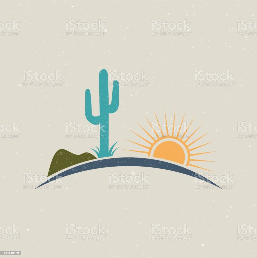 Desert illustration logo vintage style vector art illustration