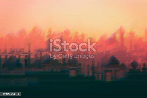 istock Desert Islamic minarets vector stock illustration 1255634136