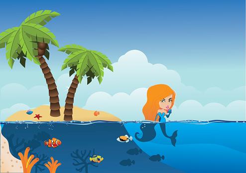 Desert Island with mermaid background.