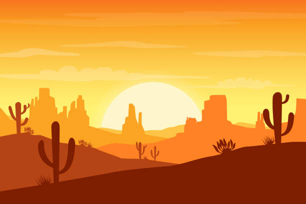 desert landscape at sunset with cactus and hills silhouettes background - vector illustration - desert stock illustrations