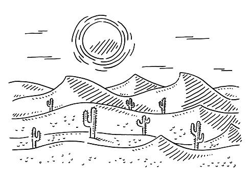 Desert Landscape Drawing