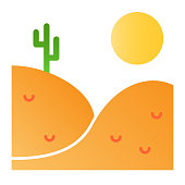 Desert landscape flat icon. Landscape with cactus color icons in trendy flat style. Hills ans sun gradient style design, designed for web and app. Eps 10