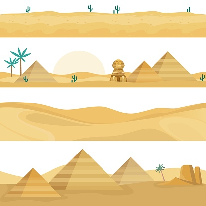 Desert landscape seamless borders. Sand dunes, Egyptian landmarks elements, pyramids, palm trees and Sphinx against hot sahara sunset. Vector endless horizontal backgrounds set