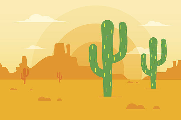 Desert Landscape vector art illustration