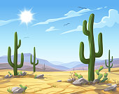 Vector illustration of a desert landscape with Saguaro cactus. In the background are hills and mountains, a blue sky, clouds and a bright sun.