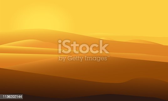 Desert landscape vector illustration with sun shining over sand dunes. Morning desert mountains.