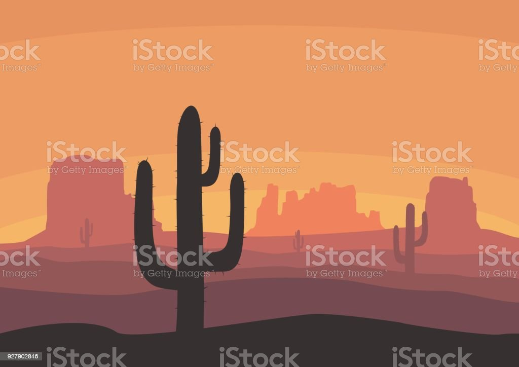 Desert landscape with cactus, hills and mountains silhouettes. Nature sunset on a background of a mountain landscape. Extreme tourism and travelling. Vector illustration vector art illustration
