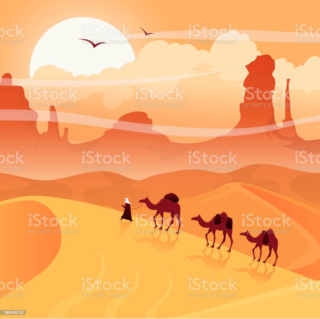Ilustración de Paisaje Del Desierto Con Caravanas De Camellos ...
