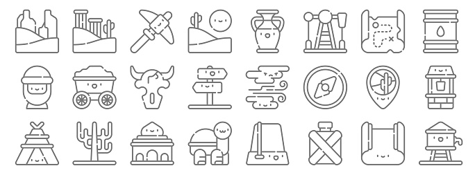 desert line icons. linear set. quality vector line set such as water tank, canteen, turtle, tent, location, skull, oil barrel, amphora, ruins