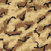 Desert beige military digital veterans day camouflage pattern abstract background design.