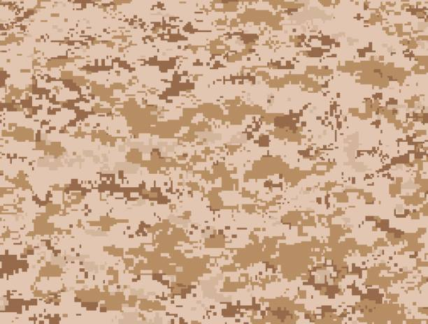 Desert military camouflage texture vector art illustration