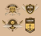 Desert military vintage vector labels