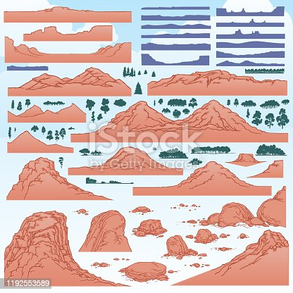 Ten Mountains, six rock features, ten small rocks and pebble groups, seventeen mountain horizon silhouettes, with forty-seven tree and bush silhouettes.