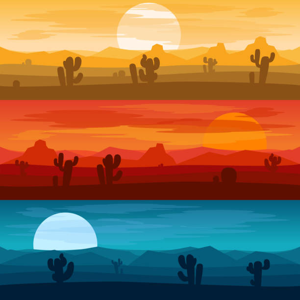 Desert mountains landscape days and at night vector backgrounds vector art illustration