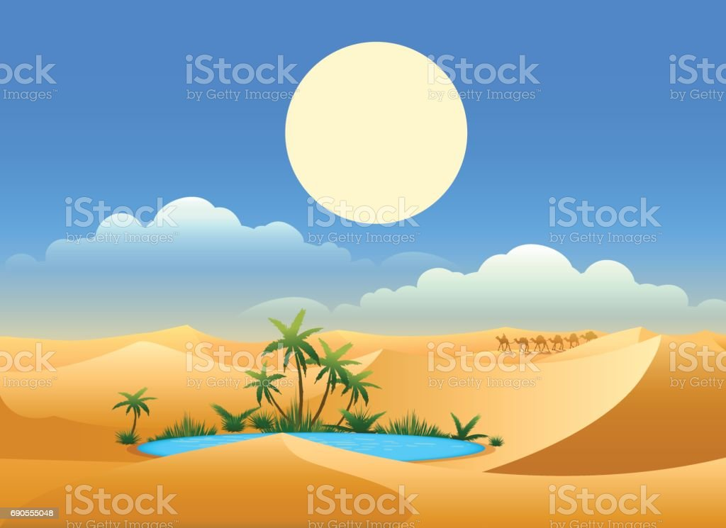 Desert oasis background vector art illustration
