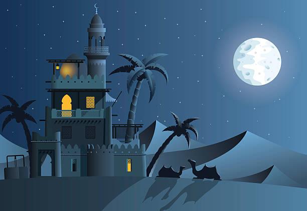 stockillustraties, clipart, cartoons en iconen met desert oasis in the night - karavanserai